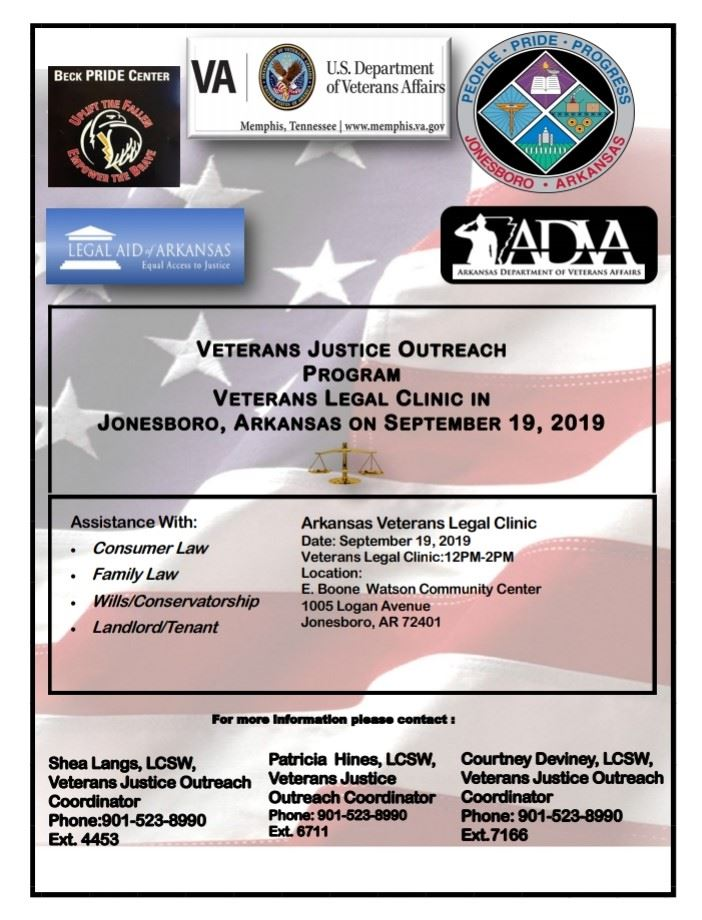 Veterans Legal Clinic in Jonesboro on Sept 19 2019 at E. Boone Watson Community Center.