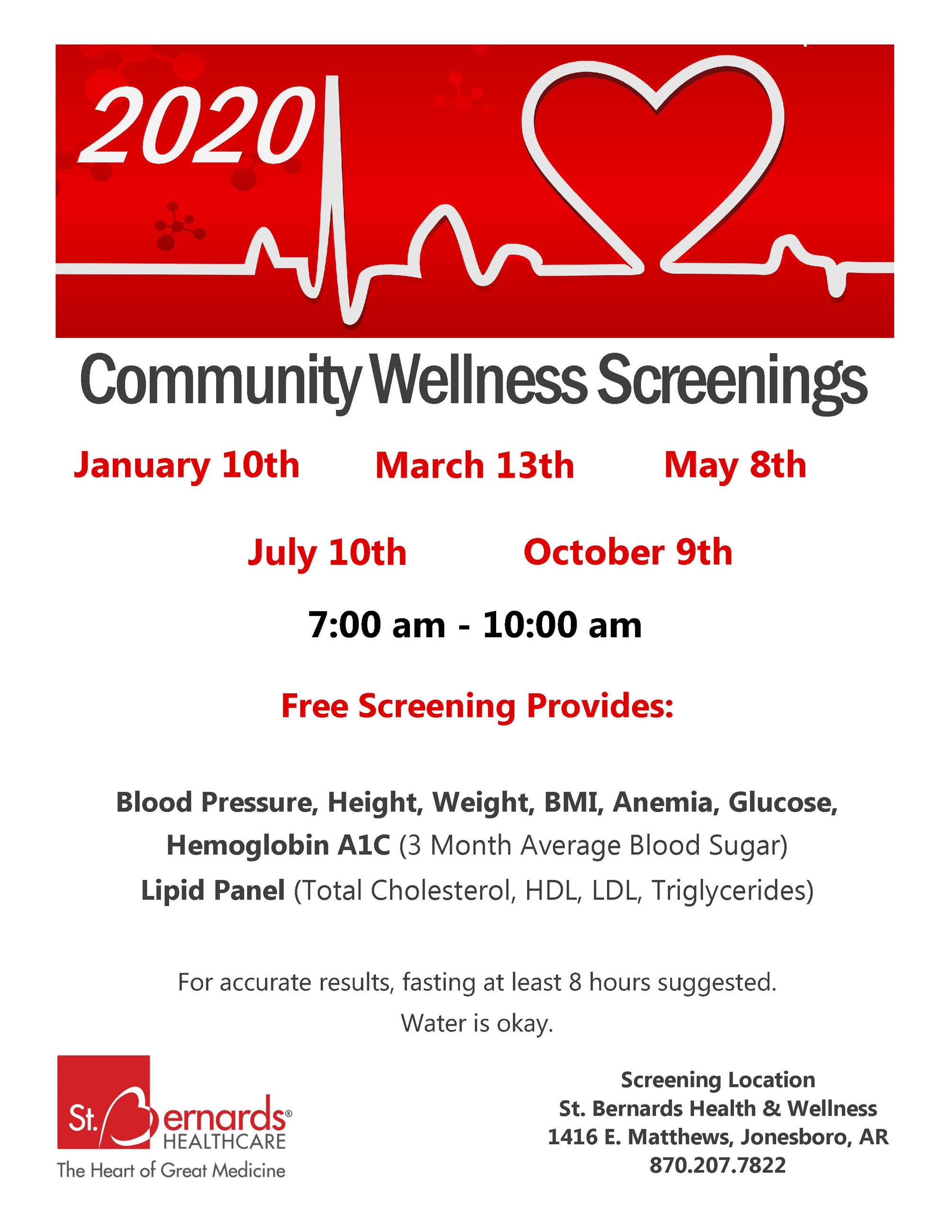 2020 Community Screening Flier, St. Bernards health and wellness; january 10, march 13, may 8, july