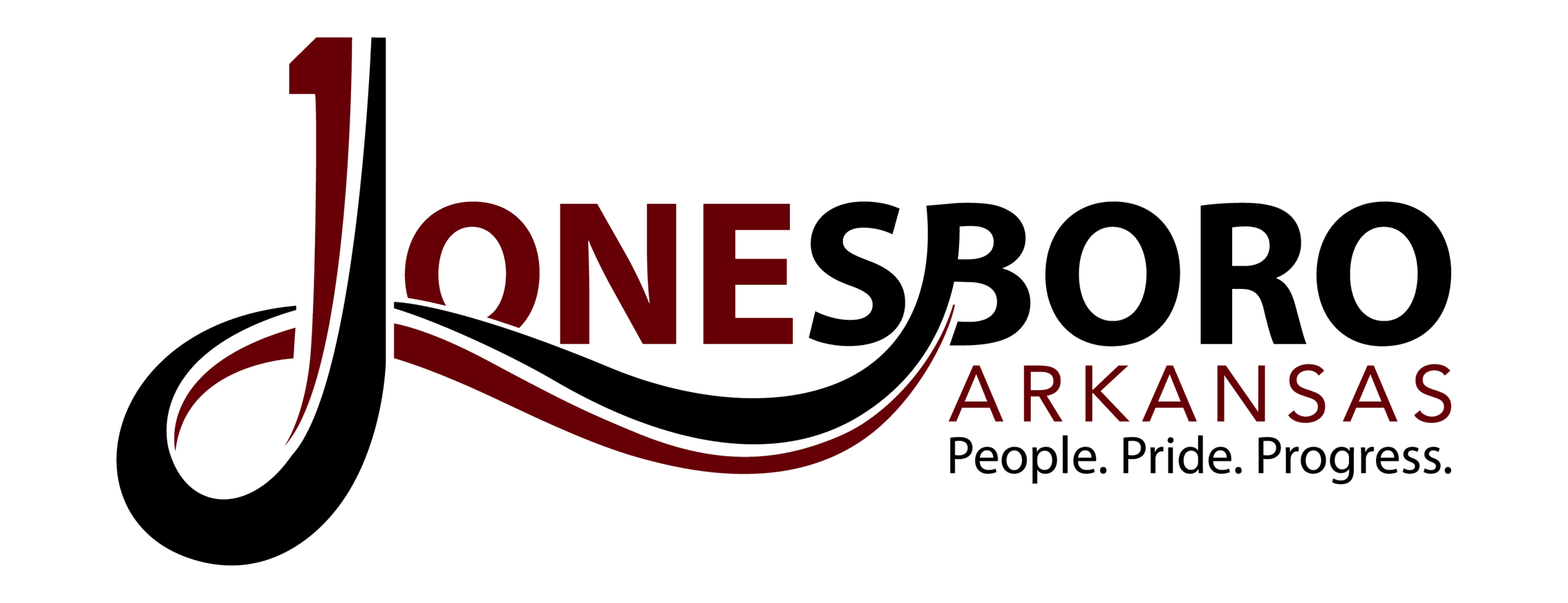 2019 jonesboro logo in color; black and red logo