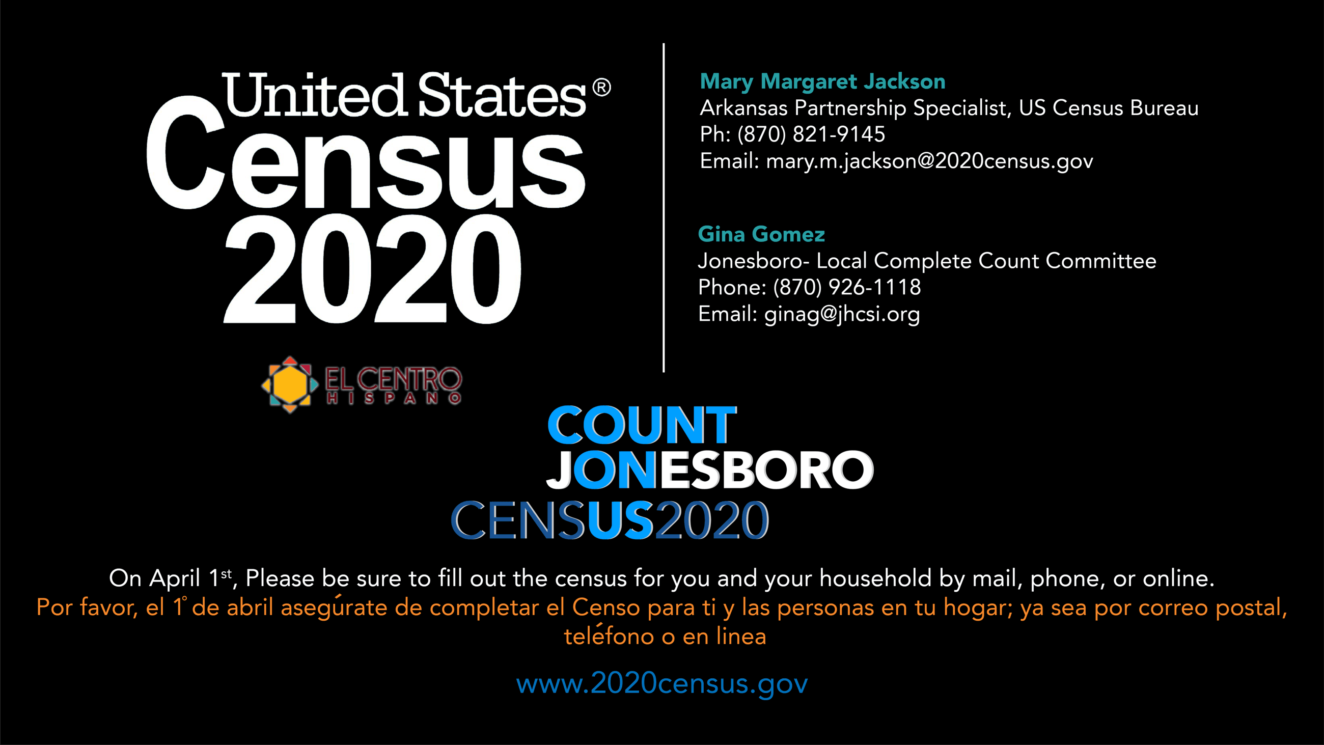 2020 Census graphic with logos and contact names