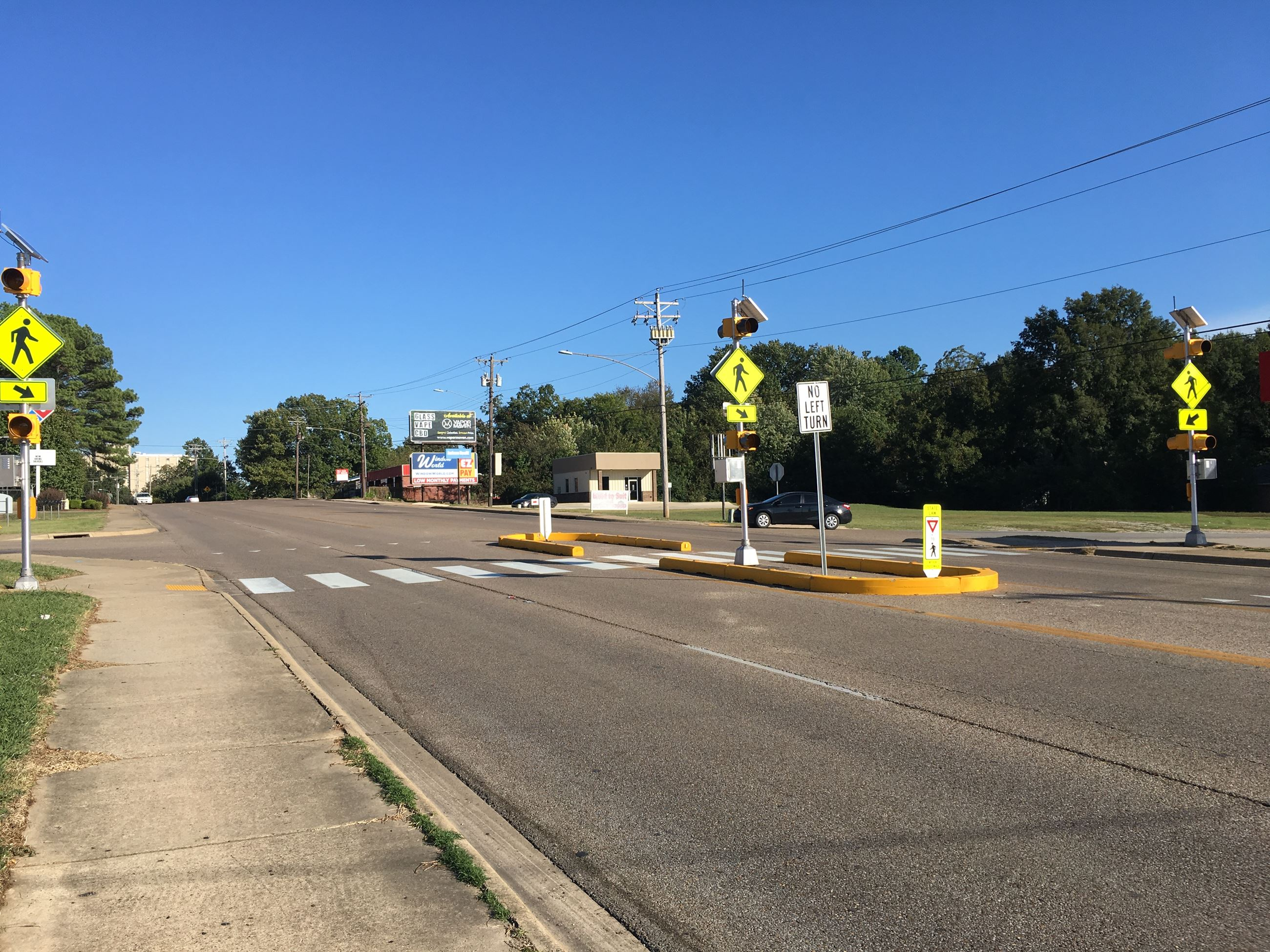 Temporary Pedestrian Crossing at Highway 91 and State Street intersection