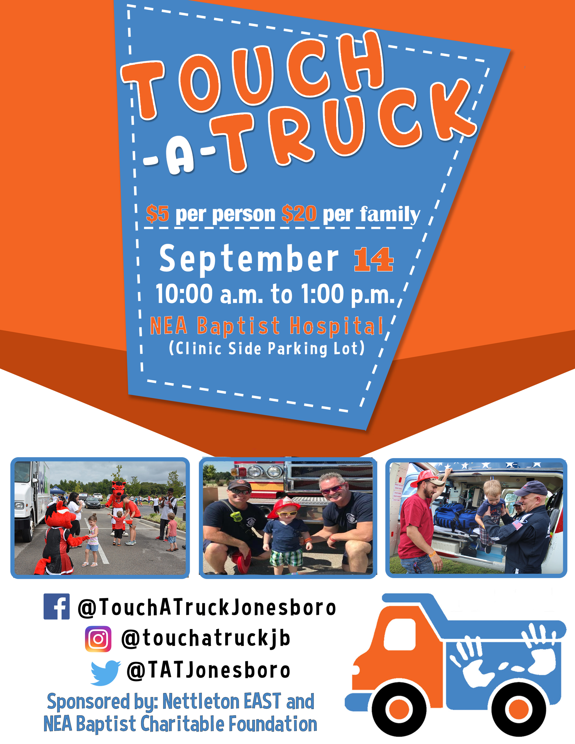 Touch A Truck is $5 per person and $20 per family on September 14, 2019 from 10 to 1 at NEA Baptist