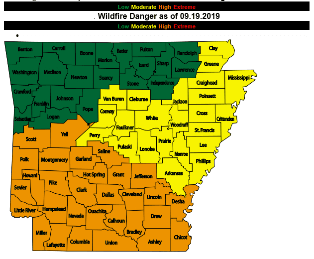 Wildfire danger graphic for Arkansas showing that conditions in Craighead County are moderate.