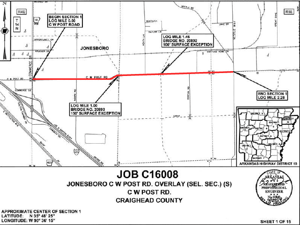 Map showing CW Post Road section that is closed.