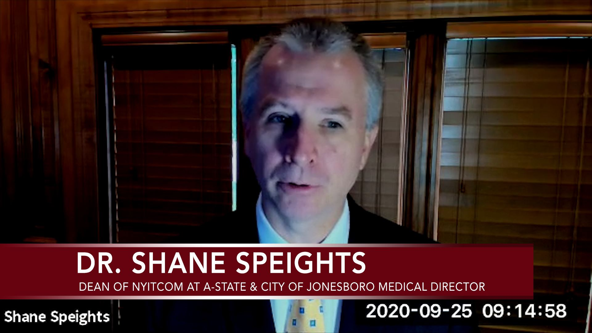Dr. Shane Speights speaking on a web camera